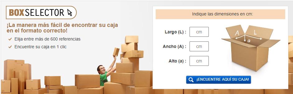 Box selector - Buscador de cajas a medida de Rajapack
