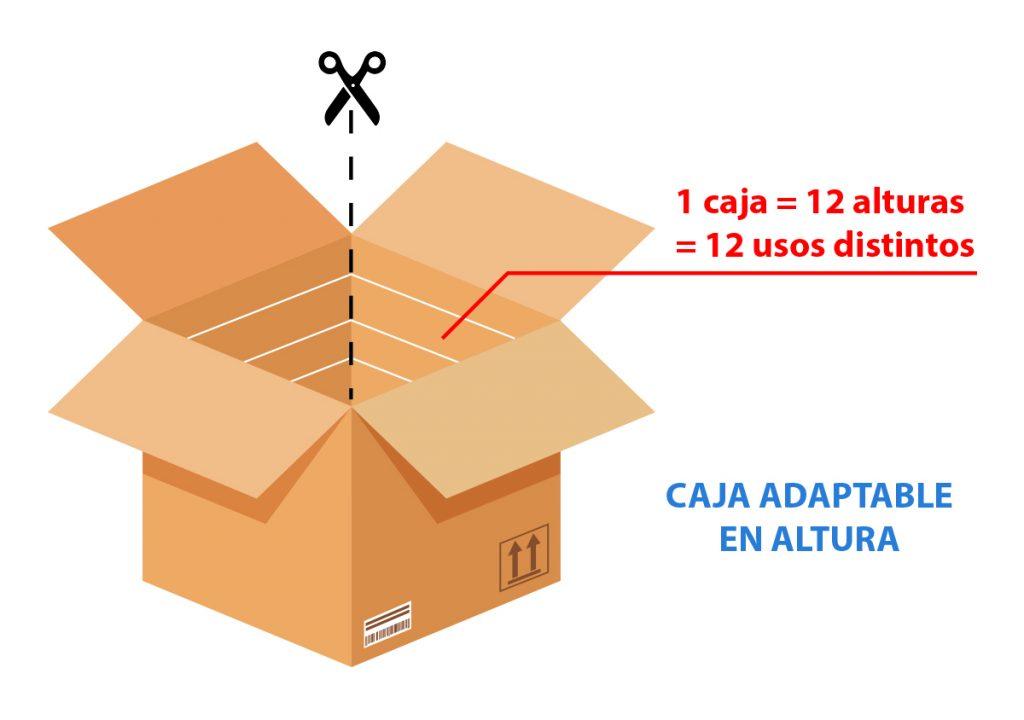 Caja a medida: caja adaptable en altura