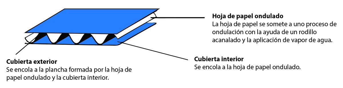 Composición de una lámina de cartón ondulado