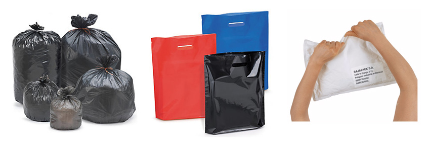 Distintas bolsas de plástico de polietileno