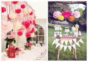 pompones de seda - bodas y eventos