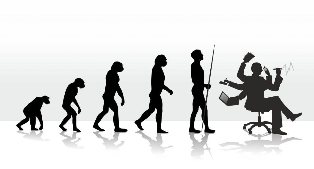evolución humana hombre sentado