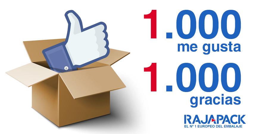 1000 me gusta en Facebook y 1000 gracias en Rajapack