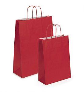 Balsa de papel kraft roja con asas rizadas
