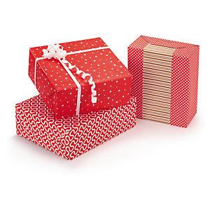 Papel de regalo rojo y blanco con distintos motivos