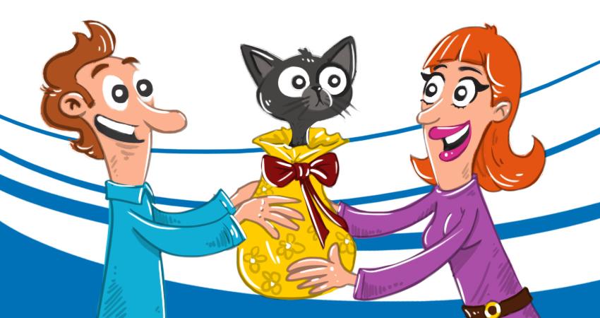 Ilustración: regalo de un gato envuelto con papel de envolver
