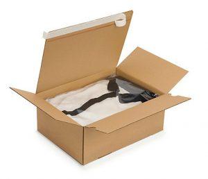 Caja de cartón con doble banda adhesiva para devoluciones de ecommerce