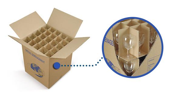 Celdas interiores para cajas de cartón para mudanzas