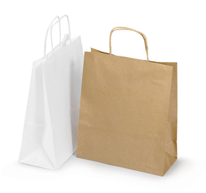 Bolsa de papel kraft con asas rizadas Rajashop