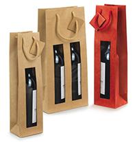Bolsas para botellas con asas y ventana en kraft
