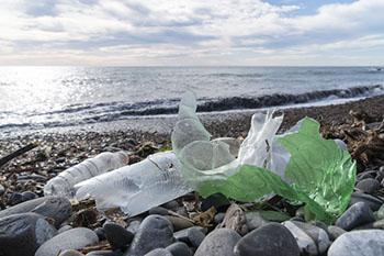 Plásticos de un solo uso acumulados en la playa
