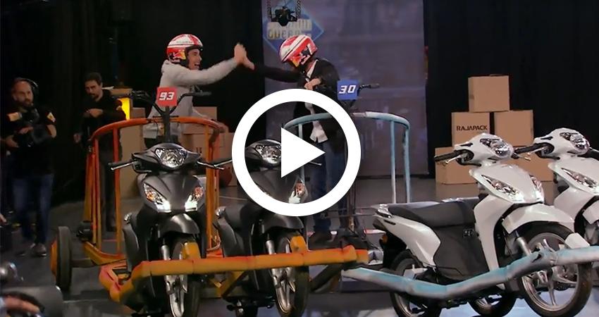 Video carrera Marc Marquez vs Pablo Motos en El Hormiguero