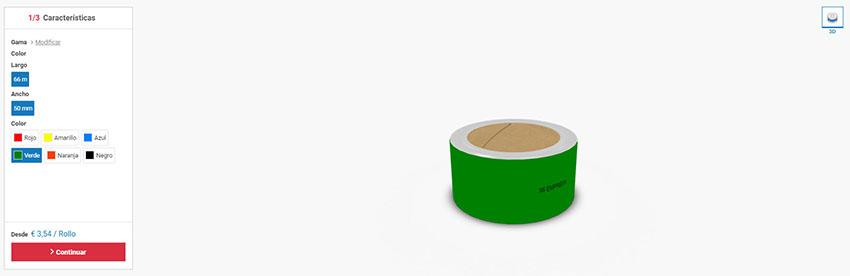 Cinta adhesiva personalizada: selección de largo, ancho y color en el simulador