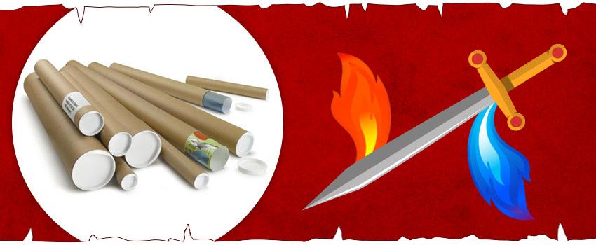Embalaje inspirado en Juego de Tronos: tubos de envío para espadas de acero valyrio