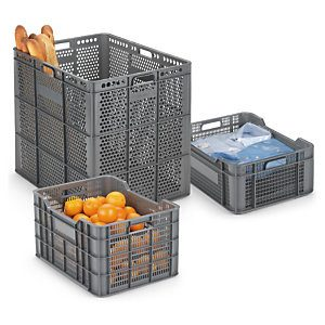 Cajas de plástico para almacenaje con rejilla