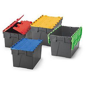 Contenedores de plástico con tapas de colores