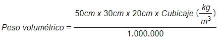 Peso volumétrico con cubicaje