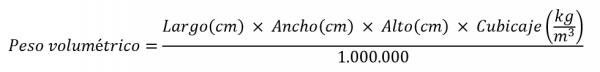 Fórmula para calcular el peso volumétrico: opción 1