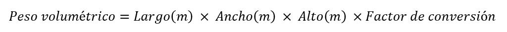 Fórmula para calcular el peso volumétrico: opción 2