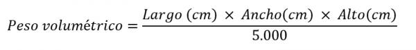 Fórmula para calcular el peso volumétrico: opción 3