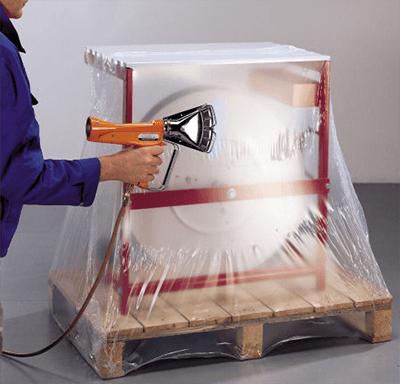 Colocación de plástico retráctil con pistola